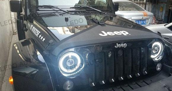 Jeep Wrangler Seal Beam LED headlight Modified 4