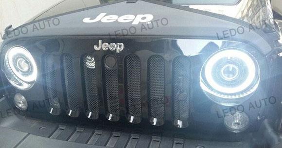 Jeep Wrangler Seal Beam LED headlight Modified 5